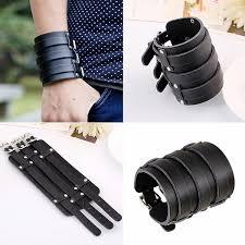 <b>Vintage Genuine Leather</b> Buckle Punk Cuff Bangle Wristband <b>Wide</b> ...