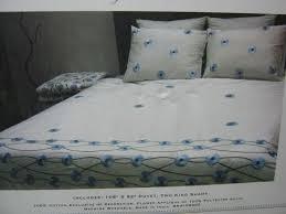 bella lux fine linens king duvet set 3pc blue flower applique embroidery vine