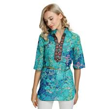 <b>Women's Boho</b> Half Sleeved <b>Chiffon Blouse</b>