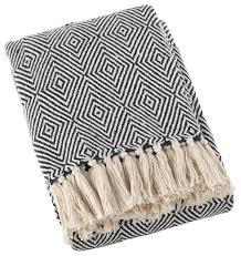 Navy Cotton Throw Blanket