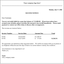 Delinquent Account Letter Template Collection Letter Template Second Notice