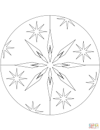 Small Picture Christmas Mandala with Stars coloring page Free Printable