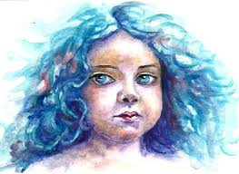aceo miniature girl face watercolour painting 2 5x3 5 cm
