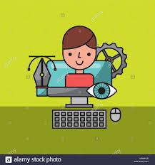 Vector Image Designer Designer Character In Computer Graphic Creative Process
