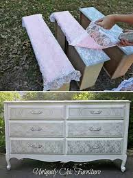 furniture makeovers. spray painted silver over lace to get the shaby chic effect furniture makeovers n