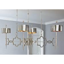 polished nickel elongated chandelier