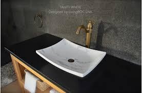 18 white marble stone bathroom vessel sink tahiti white