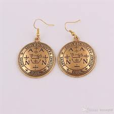 2019 hot viking jewelry uni earrings religious archangel name zadkiel written with ancient pattern zinc alloy dropshipping from herong68