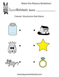 Worksheet Rhyming Kindergarten Wosenly Free Worksheets For Rhyme ...