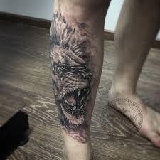 Lion Tattoo On The Leg Tattoo Artist In Ukraine Yavtushenko Dmitriy