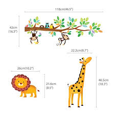 Decowall Dw 1402 Little Monkeys Tree And Animals Height