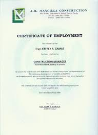 Excellent Certificate Of Employment Template For Construction The