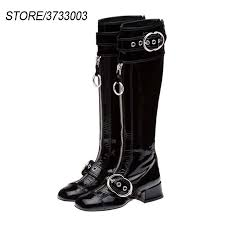 new arrival patent leather knee high booties women front zip studded buckle med heel motorcycle boots women womens ankle boots leather boots for women from
