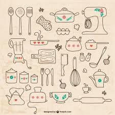 Kitchen utensils drawings Vector Free Download