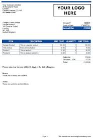 Template Invoice Table Invoiceberry Simplicity Blue Blog