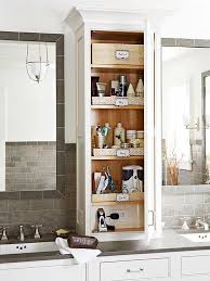 Extend your cabinetry from the vanity countertop to the ceiling to capture  vertical storage space.