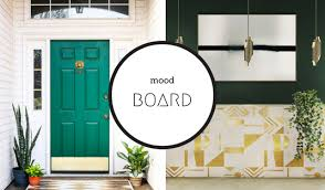 mood board using emerald green to achieve a trendy home decor