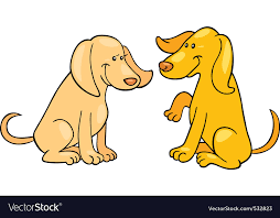 cartoon ilration of two cute dogs