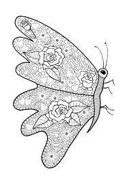 Spring Flower Abundance Butterfly Coloring Page
