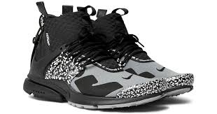 nike acronym air presto mid leather and rubber trimmed mesh sneakers in gray for men lyst