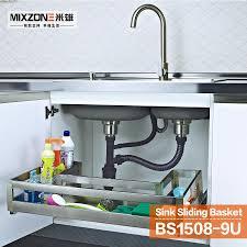 Kitchen Basket 2017 Pull Out Stainless Steel Under Sink Basket In Kitchen Cabinet