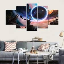 canvas painting children s room decoration print 5 panel frame modular pictures moon and deer landscape canvas
