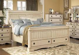 Antique White Distressed Bedroom Furniture Magnificent Set