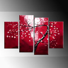 white blossom on red winding blossom tree painting canvas wall art 4 panel 40 inch 101cm print 1