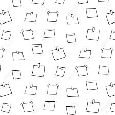 Hand Drawn Vector Illustration Of Blank Memo Notes Pattern