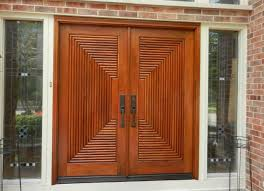 Outstanding Double Front Doors For Homes Featuring Brown Solid Wood ...