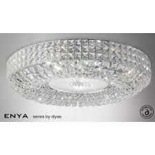 enya large 9 light flush ceiling fixture with clear crystal decoration