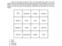 Cantar Conjugation Chart Magic Square On Spanish Regular Ar Verb Conjugation Fun No Prep Worksheet