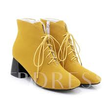 chunky heel nubuck leather shoes yellow ankle boots sold out
