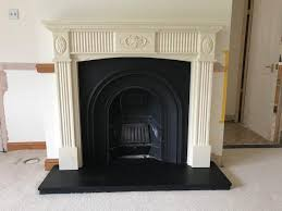 just removed cast iron fireplace metalwork size 97cm x 97cm made by stovax complete with back flu panel etc solid slate hearth black