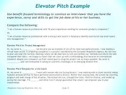 Elevator Pitch Examples For Students Sample Elevator Pitch Example Documents In Word Speech Template For