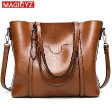 Women bag Oil wax <b>Women's Leather Handbags Luxury</b> Lady Hand ...