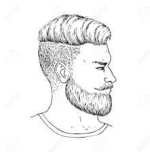ロゴベクトルの手にはひげと Mustage 側の肖像画のある成人男性が描画されますおしゃれなひげを生やしたヒ