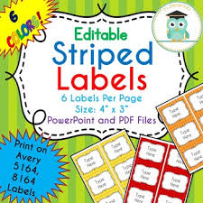 Avery 5164 Labels Striped Labels Editable Classroom Notebook Folder Rainbow Avery 5164 8164
