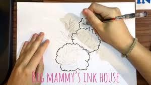 пионы Tattoo Sketch