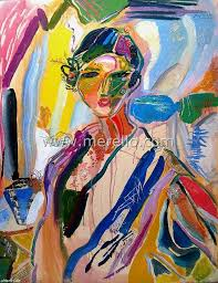 spanish woman with flower mixed a on canvas spanish art