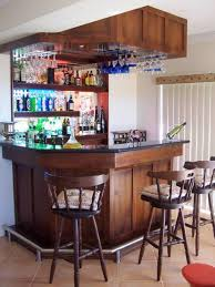 Cherry Bar Cabinet Mini Bar For Home With Hanging Wine Glass Rack And Open Shelving