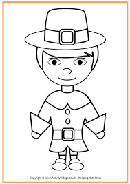 Pilgrim Boy Colouring Page Thanksgiving Crafts Thanksgiving