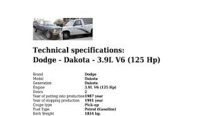 Dodge - Dakota - 3.9L V6 (125 Hp) - Technical specifications - YouTube