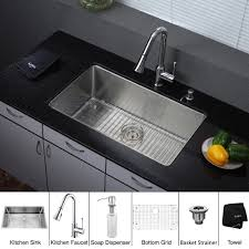 stainless steel kitchen sink combination kraususa inch discontinued undermount single bowl with chrome faucet and double kraus