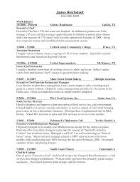 Resume Example Professional Culinary Resume Templates Kitchen
