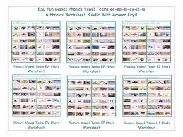 Teachers choose an image and then list 3 words for that image. Phonics Vowel Teams Ee Ea Ei Ey Ie Ui 6 Worksheet Bundle Teaching Resources