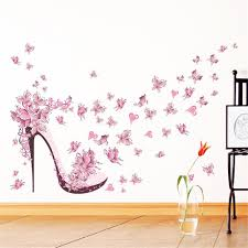sale pink butterfly high heels wall art sticker home decoration waterproof removable decals on home decorating stick on wall art with colormix pink butterfly high heels wall art sticker home decoration