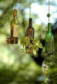 glass bottle planter suspended