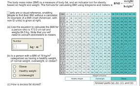 How To Figure Bmi Chart Solved Weight The Body Mass Index Bmi Is A Measure Of B