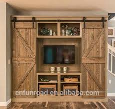 artistic tv showcase furniture farmhouse barn door bookcase with adjule and removable doors